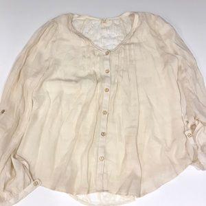 Anthropologie cream button down blouse